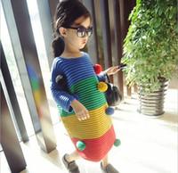 Wholesale Crochet Sweaters Wholesale - Princess Girls Sweater Balls Rainbow Winter Fall Long Sleeve Crochet Dress Tutu Sweaters Tops Kids Jumper Top K6462
