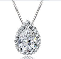 Wholesale sterling silver chain types for sale - Group buy 925 Sterling Silver White Copper Gold Waterdrop Types Cubic Zircon Love Heart Pendant Necklace For Women Xmas Gifts TM