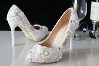 Wholesale Heel Pumps China - 2017 Luxury Rhinstone pearls Wedding Shoes Made in China Bridal Shoes Party Prom Women Shoes 11 and 5 cm cm Iovry white waterproof Shoeses