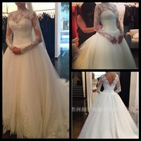 Wholesale Long Sexy Pink Tube Top - Vestido De Noiva 2015 Wedding dresses Tube Top Luxurious Long Sleeve Lace Wedding Dress 2015 Wedding Gown Robe De Mariage