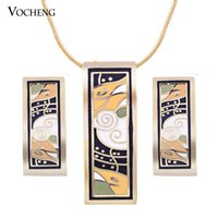 Wholesale Wholesale Enamel Paint - Square Pendant Gold or Silver Plated Copper Metal Hand Painted Women's Enamel Jewelry Set (Vs-277*10) Vocheng Jewelry
