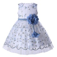 Wholesale princess flower child party dress resale online - Pettigirl Wedding Party Princess Dress White Tulle Embroidery Dresses With Removeable Flower Girl Dresses Sash Children Clothing GD003