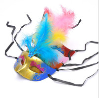 Wholesale Fantasy Feathers - Venetian Style Mask Mardi Gras Masquerade Costume Party Feather With Rhinestone Masks Fantasy Masks (Assorted Colors)
