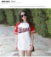 Wholesale New Korean Womens - Wholesale-2016 New Summer Hip Hop Sports Fashion Baseball T shirt Korean style Loose Unisex Mens Womens Tee Tops Tide mujeres camiseta