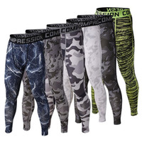 Wholesale Sports Camouflage - Wholesale-Mens Gym Clothing Sports Tights PRO Elastic Basketball Long Leggings Pants Men Compression Camouflage Pants For Men Size S-XL