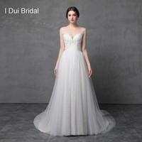 Wholesale Neckline Corset - A Line Illusion Neckline Lace Appliqued Wedding Dresses Beaded Corset Tulle Layer Romantic Bridal Gown Real Photo