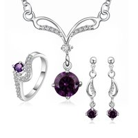 Wholesale B 925 China - New Elegant 925 Sterling Silver Amethyst Natural Crystal Necklace Earrings Anklet Ring #8 S717-B,Elegant Women's Wedding Jewelry set