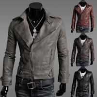 Wholesale inclined zipper jacket - Wholesale- Free shipping Men Slim leather men's inclined zipper design leather jacket leisure jacket M-L-XL-XXL