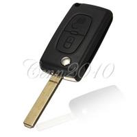 control remoto citroen al por mayor-2 botones de control remoto plegable Flip Blade Key FOB Shell para CITROEN C1 C2 C3 C4 C5 Envío gratis