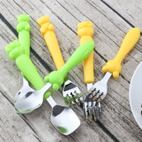 Wholesale Owl Tableware - Stainless Steel Spoons Cute Owl Bear Shape Fork Spoon Tableware Camping Picnic Dinnerware Gift For Kids 1 8dq C