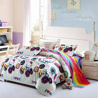 Wholesale Quit Cover - Wholesale-fashion bedding sets cartoon kitty cat dog printed bedding set quality quit cover bed sheet 4Pcs bed for wholesale freeshipping