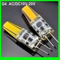 led spot 2w rohs toptan satış-Yeni G4 LED 12 V AC / DC COB Işık 2 W 3 W Yüksek Kalite LED G4 COB Lamba Ampul Avize Lambaları Halojen işık değiştirin
