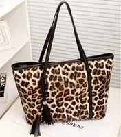 Wholesale Tassel Fringe Handbag - 2015 new fashion leopard big bag fringe women handbag leather women shoulder tote bags Tassel fashion leopard women bags 5024g