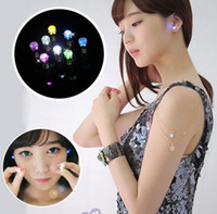 Wholesale Coloured Glow Dark - 8 Colours Night Light Diamond LED Earrings Bar Stage Dance Fashion ear Stud Earring Glow in Dark Button Ear for Party supplies Free Shipping