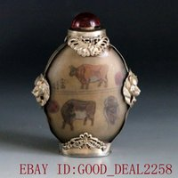 Wholesale Hand Painted Snuff Bottles - Chinese Glass Internal Hand-painted Armor Silver Snuff bottle w Penta-Bull map