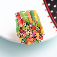 Wholesale Nail Stickers Fruits Animals - Newest Polymer Clay Nail Tips Nail Art Stickers Nail Canes Stickers Rod Fimo Decoration Fruit Flower Animals Nail Decals Cutted 50pcs lot