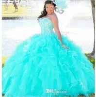 vestidos de concurso de aqua al por mayor-2016 Nueva Crystal Sweetheart Sweet 16 vestido de bola Vestidos de quinceañera con cordones Volver Aqua / Pink en cascada de organza con volantes Prom Vestidos de desfile