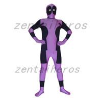 Wholesale female deadpool costume online - Black And Purple Spandex Deadpool Costume