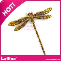 Wholesale Dragonfly Brooch Mixed - 60*70mm Metal Brooch Dragonfly Insect Crystal Rhinestone Brooch For Costume Trimming DHL free shipping