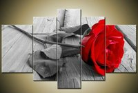 free gift picture 2018 - Handmade 5 Piece Wall Art Oil Paintings On Canvas Flowers Pictures For Living Room As Unique Gift Red Rose Free Shipping F 028
