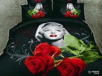 Wholesale Sexy Marilyn Monroe Comforter - Free shipping Sexy Goddess Marilyn Monroe luxury oil painting 3d bedding set queen size 4pcs duvet comforter covers bed sheet 100% cotton