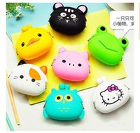 Wholesale Silicone Ladies Handbags - Coin Purse Lovely Kawaii Candy Color Cartoon Animal Women handbags Girls Wallet Multicolor Jelly Silicone Purse Kid Christmas Gift R1591