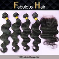 Wholesale Unprocessed Brazilian Hair 5pcs - 5Pcs Lot Cheap Brazilian Virgin Hair 3 Way Part Lace Top Closure with 4 Bundles Body Wave Unprocessed Hair Weave Extensions Hairpiece