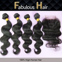 Wholesale Top Hair Hairpieces - 5Pcs Lot Cheap Brazilian Virgin Hair 3 Way Part Lace Top Closure with 4 Bundles Body Wave Unprocessed Hair Weave Extensions Hairpiece