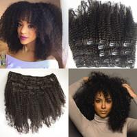 24 black hair extensions toptan satış-Moğol Bakire Saç Afro-amerikan İnsan saç uzantıları afro kinky kıvırcık saç klip doğal siyah klipler ins G-EASY
