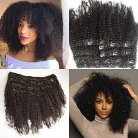 clips para el pelo humano al por mayor-Pelo virginal mongol Afroamericano clip de pelo rizado rizado afroamericano en extensiones de cabello humano clips negros naturales ins G-EASY