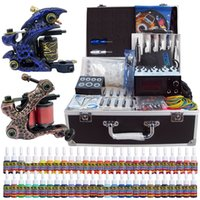 Wholesale Tattoo Machine Carry Case - Solong Tattoo® Complete Tattoo Kit 2 Pro Machine Guns 54 Inks Power Supply Foot Pedal Needles Grips Tips with carrying Case TK221