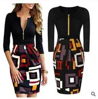 Wholesale Digital Print Vintage Dress - New Office OL Work Wear Women Casual Dress Sexy Vintage Digital Print Colorblock Cocktail Party Bodycon Pencil Dresses Summer Style OXLT704