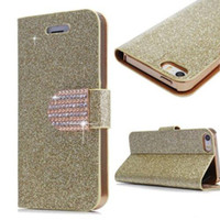 Estojo de couro Flip para Samsung Galaxy S4 / 5/6 Edge Note 3/4 Iphone 4S 5S 6S Plus Moda Glitter Bling Rhinstone Magnetic Buckle Wallet Cover