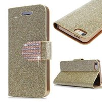 Wholesale S4 Gold Case - Leather Flip Case for Samsung Galaxy S4 5 6 Edge Note 3 4 Iphone 4S 5S 6S Plus Fashion Glitter Bling Rhinstone Magnetic Buckle Wallet Cover