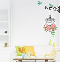 Wholesale Decals Murals Bird Cage - Bird Cage Rose Flowers Blue Bird Wall Decal Sticker Decor Living Room Art Decor Poster Removable PVC Wallpaper