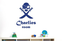 Wholesale Skull Wall Decals - Personalised Boys Name Wall Sticker Pirate Skull With Swords Vinyl Wall Decal for Kids Room Decor