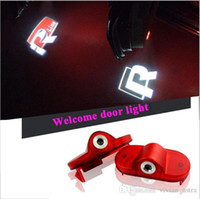 Wholesale led logo lamp - 2X Car LED Door Logo Welcome Lamp Auto Laser Logo Projector Light For Volkswagen VW Golf 4 Beetle Touran Caddy Bora Mk4 R line