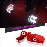 logos vw r al por mayor-2X Coche LED Puerta Logo Bienvenido Lámpara Auto Laser Logo Proyector Luz Para Volkswagen VW Golf 4 Escarabajo Touran Caddy Bora Mk4 R línea