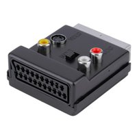 s video erkek toptan satış-Toptan-Değiştirilebilir Scart Erkek Scart Dişi S-Video 3 RCA Ses Adaptörü Dönüştürücü