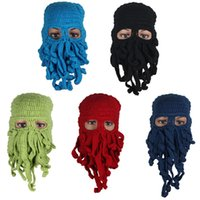 Wholesale Knitting Octopus - 1PC Unisex Octopus Winter Warm Knitted Wool Ski Face Mask Hat Squid Cap Cthulhu Tentacles Beanie Hat