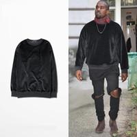 Wholesale Tyga Sweatshirts - Hot 2016 Men Sweatshirt Hip Hop Streetwear Long Zipper Arc Cut Extended Velvet Hoodies Tyga Sportswear Black Kanye West Clothes
