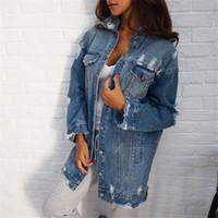 ingrosso giacca del denim del manicotto del soffio-2017 Giacche di jeans Donna Hole Boyfriend Style Manica lunga Vintage Giacca Jean Denim Loose Spring Autunno Denim Coat Jean