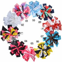 Wholesale Ribbon Layered Hair Bow - 100pcs M2MG Gymboree Baby Hairbows Layered Korker Curlies Ribbon Hair Bows clips Boutique Corker for Children Kids Headwear headbabd PD014