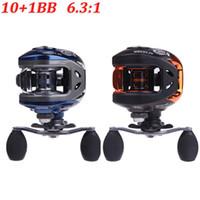 Wholesale Baitcasting Reel High Speed - NEW 10+1BB Ball Bearings Right Hand Baitcasting Carp Fishing Reel High Speed 6.3:1 Pesca Blue Black AF103