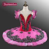 erwachsene schwan kostüm großhandel-Velvet Professional Ballett Tutu Rose Red klassischen Ballett-Tutu Swan Lake Blue Bühne Kostüme Erwachsene schwarz Ballett Tutus SD0013