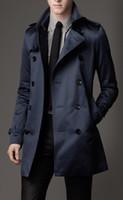 trinchera larga y delgada al por mayor-2018 nueva manera del Mens largo abrigos de invierno de los hombres adelgazan la capa de foso casual para hombre de pecho doble capa de foso del Reino Unido Estilo Outwear