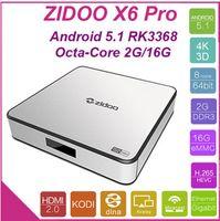 Wholesale Dvb S Tv Box - ZIDOO X6 Pro Android TV Box RK3368 1.5GHz 2G 16G 802.11AC Bluetooth 3D KODI Aluminium Smart TV Box IPTV Media Player