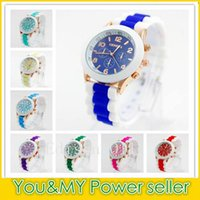 Wholesale Geneva Watches Colors - 2016 Rubber Geneva Watch New style silicone jelly candy unisex quartz watches colorful wristwatch 15 colors FREE SHIPPNG