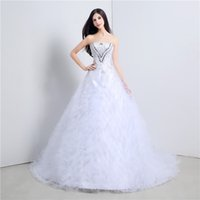 Wholesale Bow Diamond Brooch - Luxury Crystal Beadings Ball Gown Wedding Dresses Sweetheart Lace Applique with Rhinestone Diamonds Princess Bridal Dresses