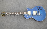 Wholesale Quilted Mahogany - OEM Factory best quality new Free shipping OEM blue quilted mahogany body electric guitar,music instrument guitar electric